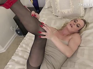T-MILF touching her self while neighboor guy is watching