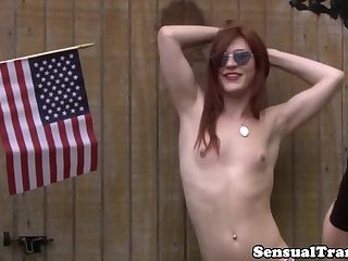 Twosome ginger trans model fucked and jizzed
