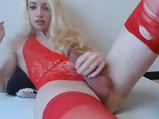 Red Lingerie Shemale On Cam