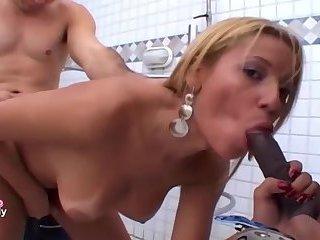 Cute tgirl with 2 lucky guys