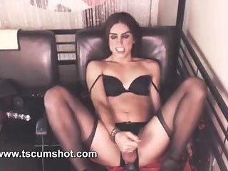 Shemale anal vibrator masturbates