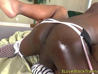 Black tgirl assfucking before double tug