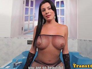 Latina tranny facialized after fucking