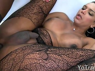 Busty shemale banged in her bubble butt