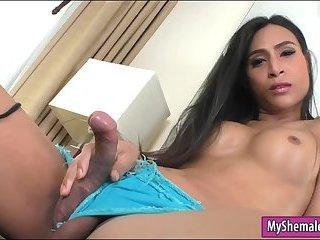 Big boobs ladyboy handjobs and anal toys