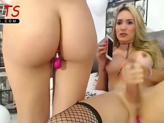 Gorgeous blonde Big cock shemale and friend live on POVTS