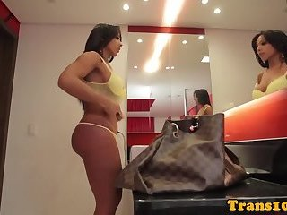 Rose gets her tight thirsty transsexual ass fucked!