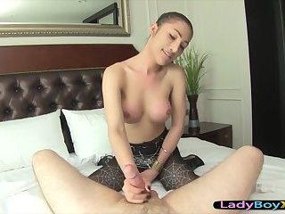 Sexy asian ladyboy in black pantyhose gets fucked bareback