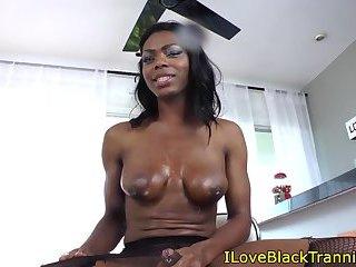 Seductive ebony tranny strokes hard cock