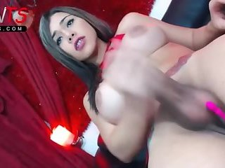 Big cock big tits latina Tgirl jerking on Cam