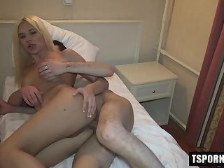 Russian shemale bareback with cumshot