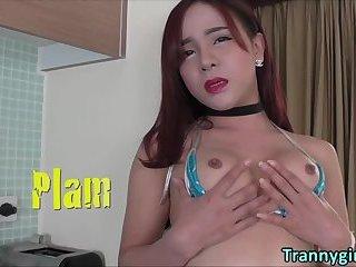Thai ladyboy Plam in hot solo pleasure
