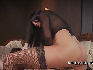 Shemale mistress anal fucks male slave