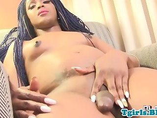 Ebony shemale with smalltits jerking off cock