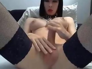 Busty TGirl Laura Cums On Cam