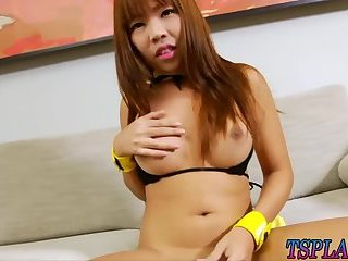 Asian shemale shows off ass and handjobs