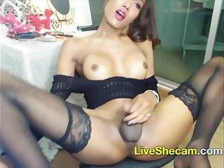 Asian TS masturbates cums on webcam