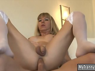Busty blonde tgirl Franchezka analyzed