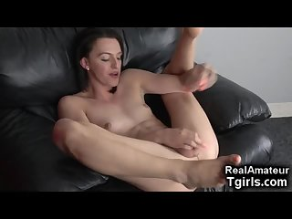 Femboi Talks Dirty and Licks Her Own Cum