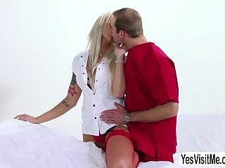 Sexy blonde shemale Aubrey Kate teases in front of the camera and gets hard ass fucked