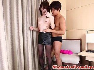 Japanese ladyboy banged after fingerfucking