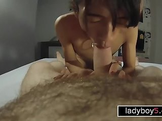 Amateur ladyboy dedicated cock sucking in front of a GoPro