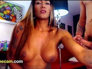 Ginger Shemale letting dude wreck her asshole