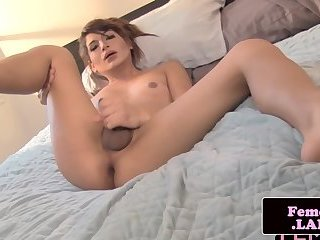 Beautiful femboy babe pleases her hard cock