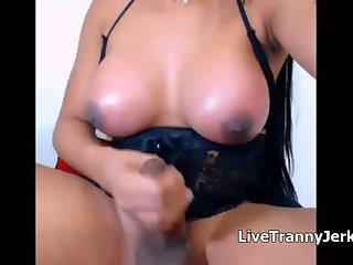 Cute Shemale with Big Tits Masturbates and Cums