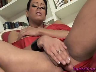 Classy trans wanking her hard cock solo