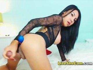 Sugar tits shemale jerks hard cock