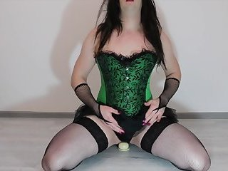 Long Dildo Ride with Multiple Orgasm