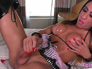 Huge boobs tranny masturbates big cock