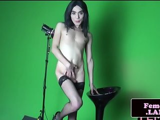 Femboy beauty penetrates her ass with toys