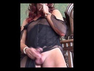 Redhair in negligee cums