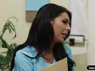 Ts nurse Chanel Santini gets sucked off by and anals patient