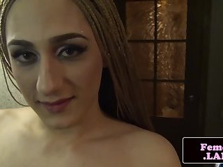 Masturbating femboy anally pleasured