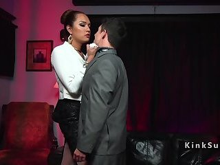 Tall dominant tranny anal bangs her boss