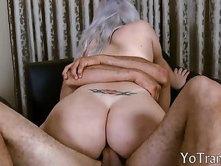 Busty shemle anal banged until she cums