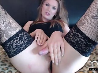Beauty transgirl jerking in stockings on Cam
