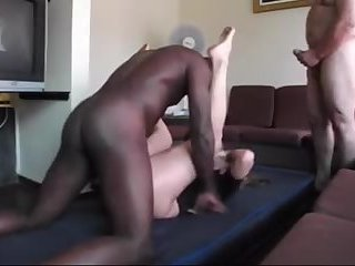 Sissy crossdresser three way fucked by BBC