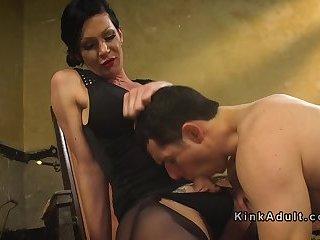Tranny in tights anal fucks guy