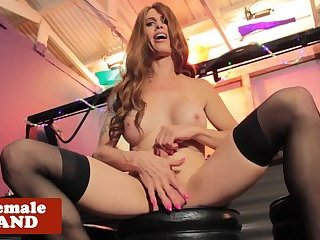 Busty ts dildoes herself while masturbating