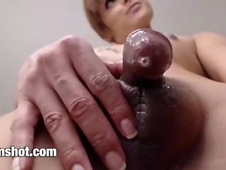 Blonde shemale small cock giving pre-cum