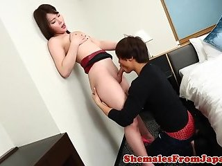 Japanese newhalf cocksucked before anal sex
