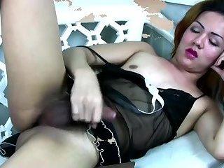 Filipina TS Masturbates Her Hairy Cock