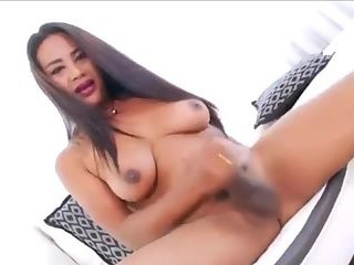 Busty Trap Wanking Her Huge Cock