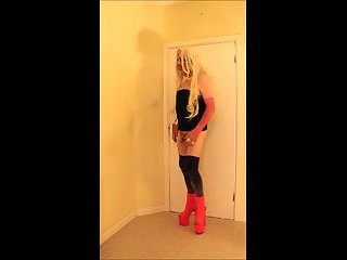 Blonde slut in pink ankle boots