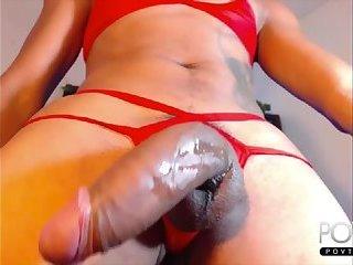 Monstercock tranny cumshot on Cam