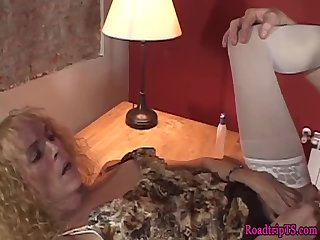 Amateur shemale in stockings gets fucked hard
